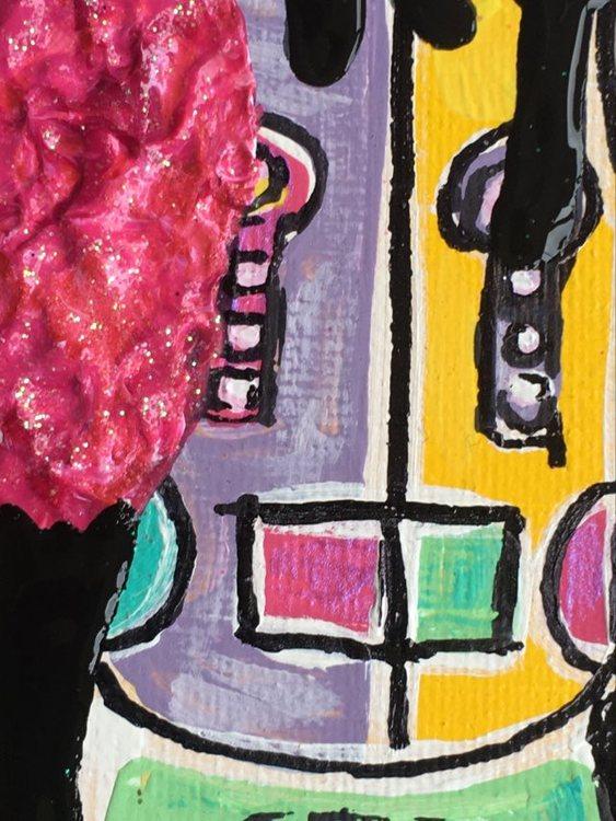 Färgstark liten tavla. Små tavlor med mycket färg hittar du på cbruggmann.se. 20x20 cm.