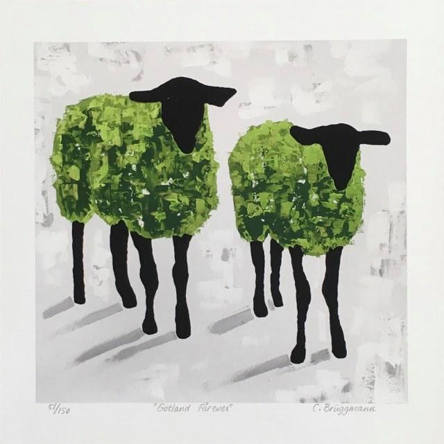 Gröna tavlor finns att köpa hos cbruggmann.se. Unik fårkonst med gotlandsfår.