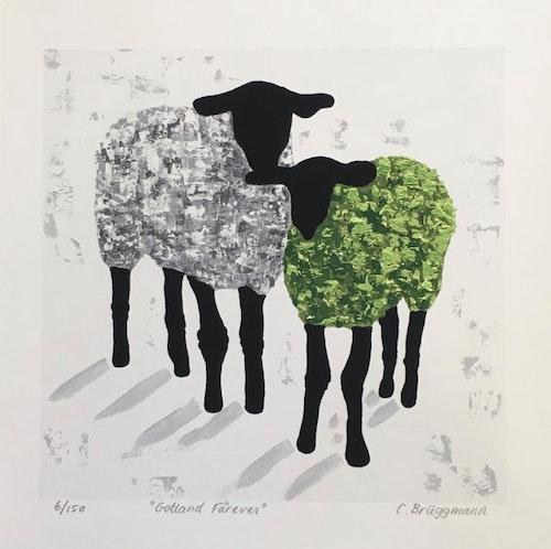 Gicleétryck får, grön/grå
