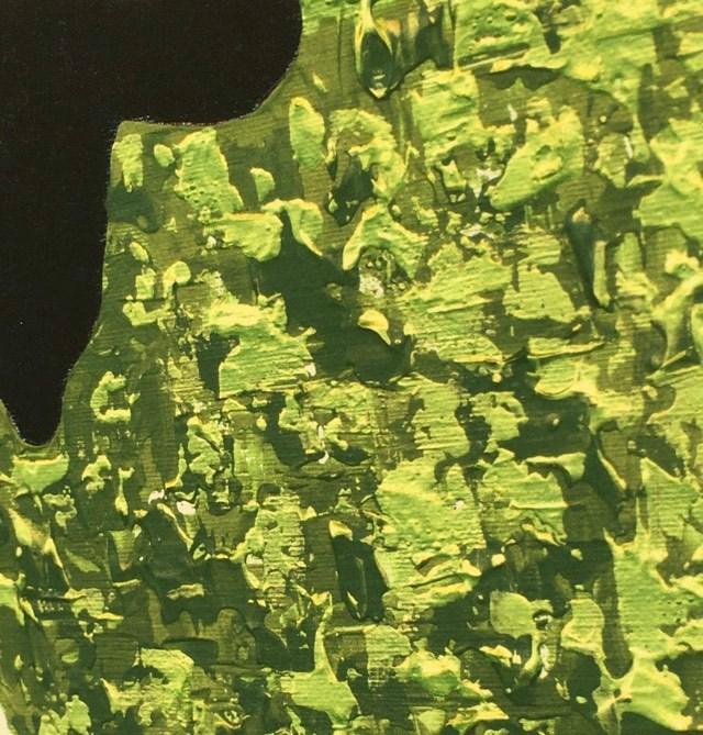 Originalmålningen är målad i gröna nyanser och metallicfärg för ett skimrande snyggt resultat.