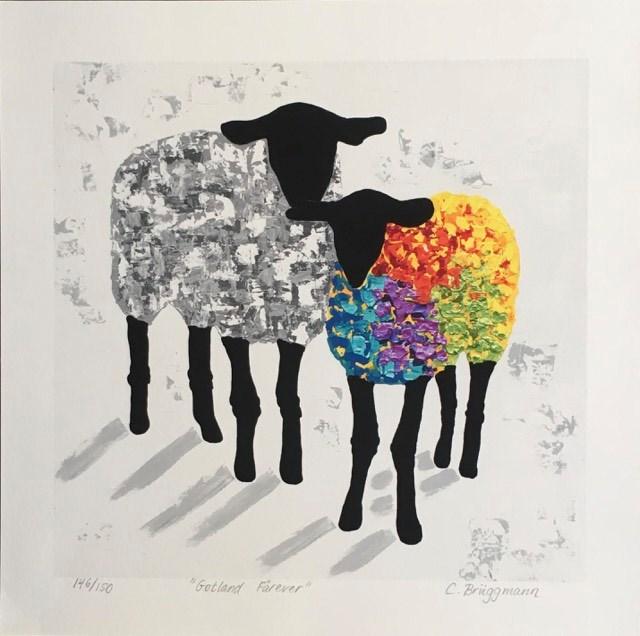 Tavla i regnbågens alla färger. Färgglad konst med massa olika färger. Fårtavlor är C.Brüggmanns kännetecken.