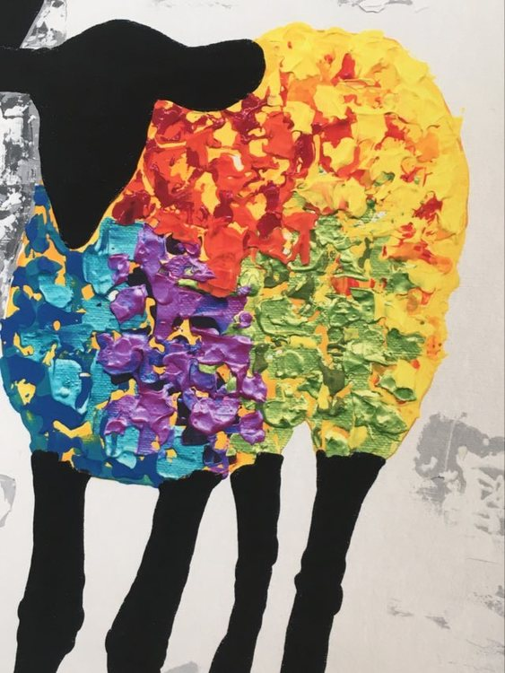 Färgat gotlandsfår i denna print till din tavlevägg. Färger man blir glad av. Glad konst.