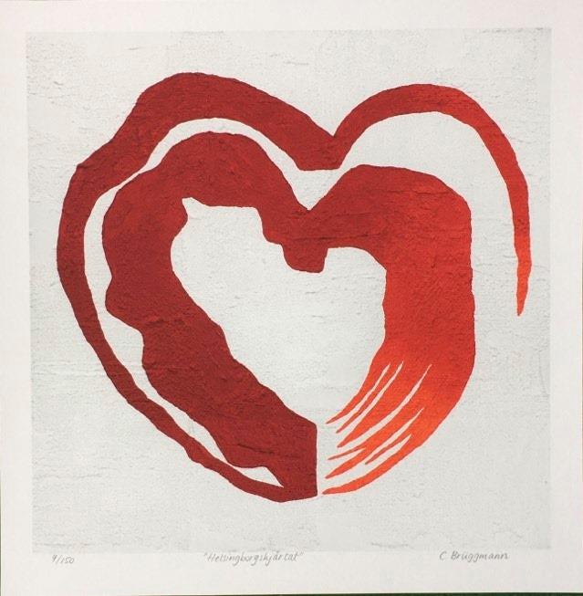 Vacker kärleksfull print med rött hjärta. Hjärttavla till ditt sovrum eller kök eller som bröllopsgåva.