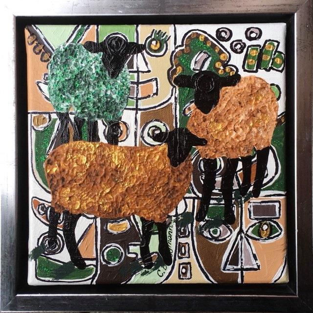 Coola, unika, roliga och färgglada tavlor med djur- och fårmotiv av C.Brüggmann. Fårtavlor.