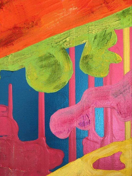 Unik målning av svensk konstnär, kvinnlig konstnärinna med namn C.Brüggmann. Färgklick till din vägg.
