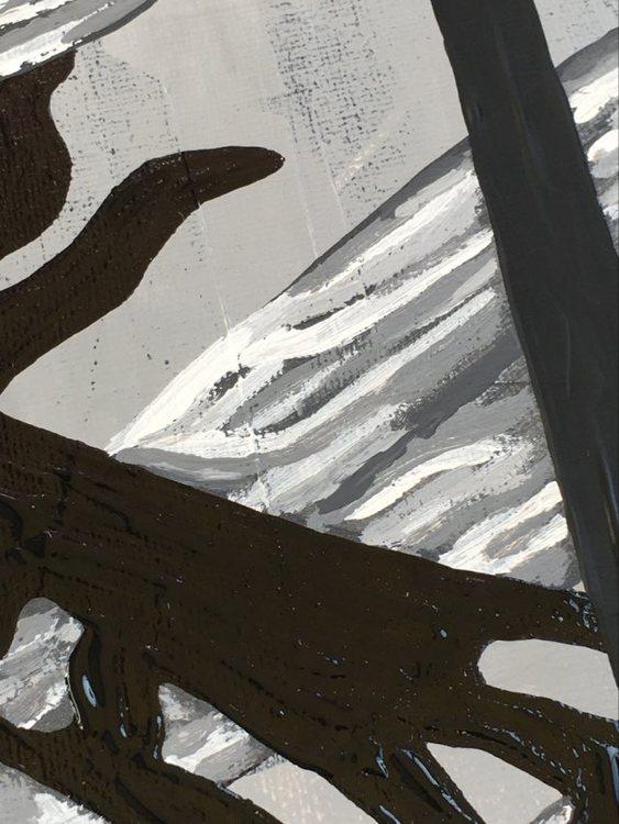 Detaljstudie av målad trollslända. En stilren tavla till din tavelvägg tex. C.Brüggmann visar sin konst digitalt under konstrundan VSKG 2021.