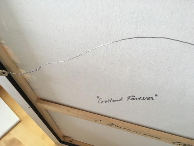 Svenska konstnärinnan C.Brüggmann signerar alltid sina originalverk på både bak- och framsidan.