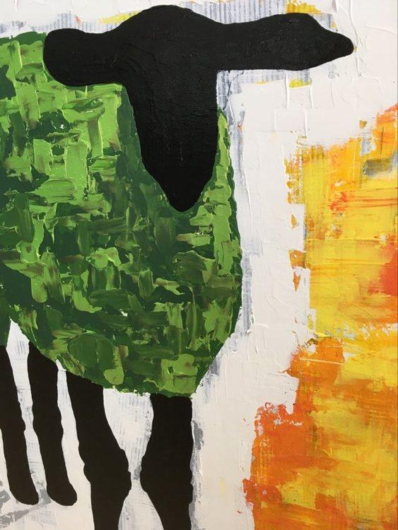 Färgglada tavlor målar C.Brüggmann med djurmotiv som kan köpas via hennes webshop med konst; cbruggmann.se