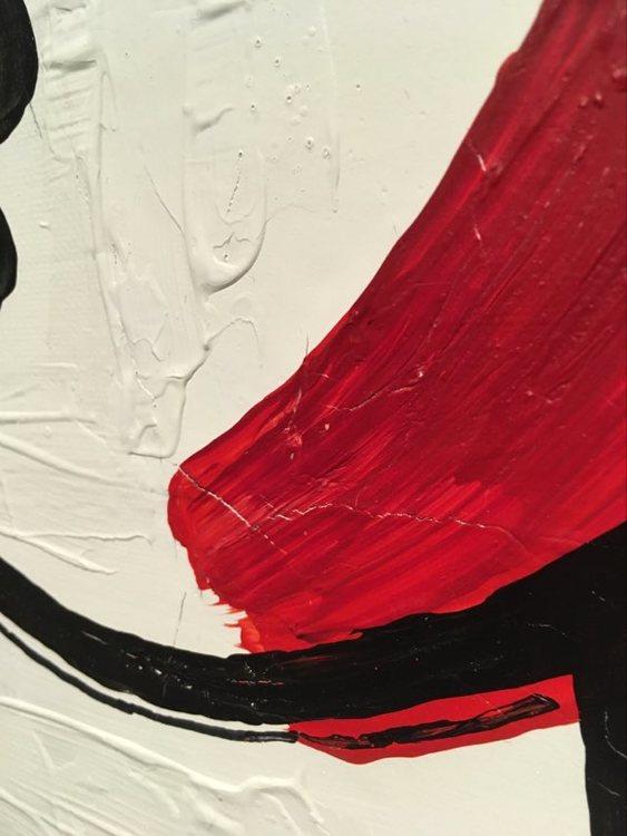 Närbild på originalmålning. Samtidskonst av kvinnlig känd konstnär. Tavlor till sovrummet.
