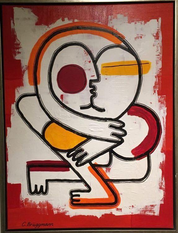 Stilren snygg röd tavla av svenska nutidskonstnärinnan C.Brüggmann från Helsingborg. Tavlor till vardagsrum.