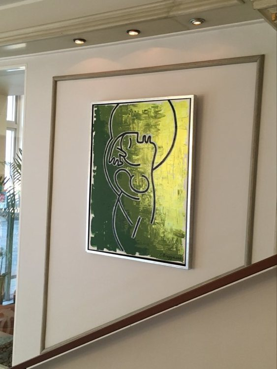 Stilren originalmålning i gröna nyanser. Tavlor till ditt sovrum, ditt vardagsrum, ditt kök, din hall.