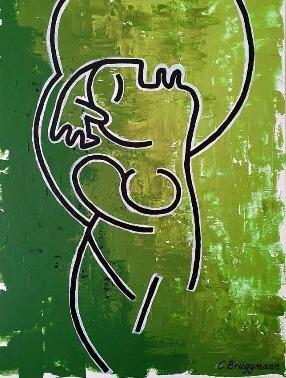 Surrealistiskt verk i grönt av C.Brüggmann. Inred med gröna tavlor för skön känsla. Stilrena tavlor.