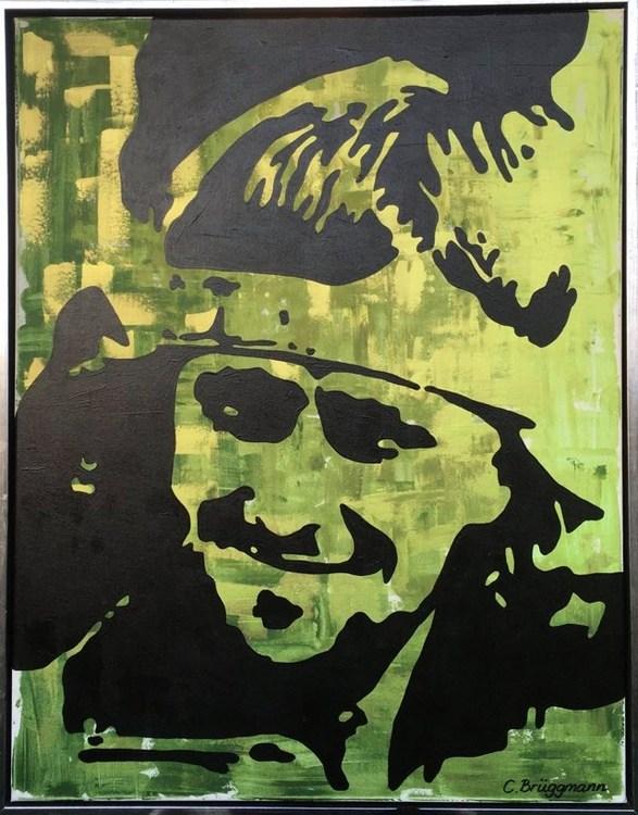 Idrottsstjärna på tavla, i detta fall är det C.Brüggmanns tolkning av Björn Borg. Grön tavla med metallicfärg.