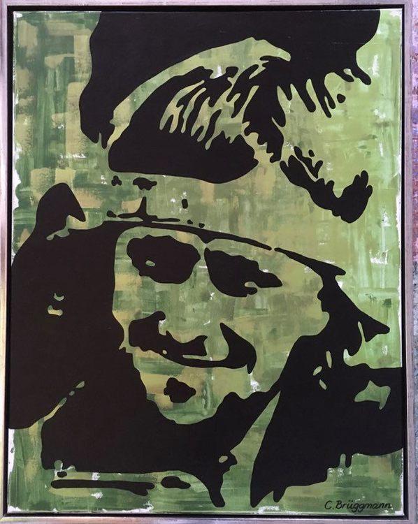 """""""Min Stjärna - From my Point of View"""", Björn Borg som grön originalmålning av C.Brüggmann."""