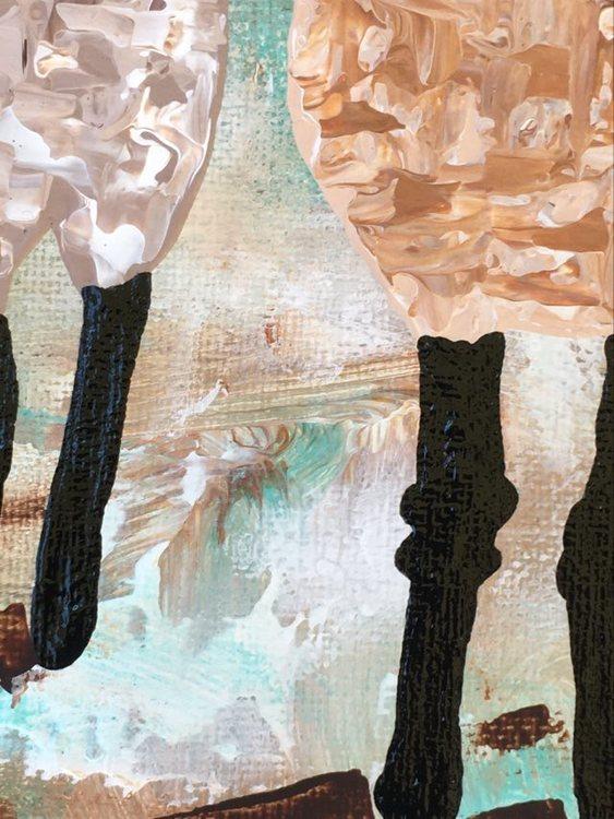 Fårens gängliga ben tolkas av konstnär C.Brüggmann från Helsingborg på detta sätt i denna originalmålning med fårtema.
