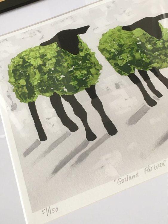 Fårprodukter med fårmotiv av konstnär C.Brüggmann kan du se på webshopen cbruggmann.se. Onlinekonst.