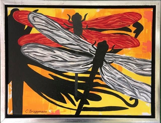 Svensk konst i form av färgglada trollsländor. Fler tavlor med trollsländor finner du på cbruggmann.se