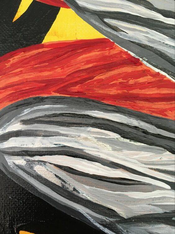 Stilstudie av Helsingborgskonstnärinnans trollslände-motiv. Originalmålning av C.Brüggmann.