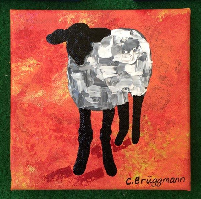 Små tavlor till sovrum, vardagsrum, hall och kök! Färgglad tavla med gotlandsmotiv i form av får.