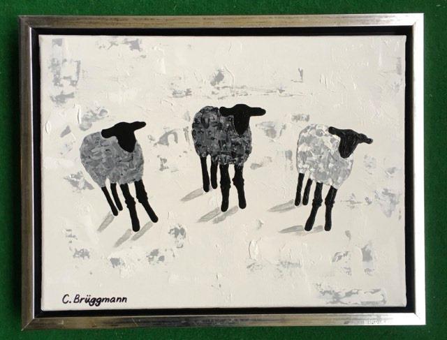 Stilren svart-vit-grå svensk konst med gotlandsmotiv i form av får. Fårtavlor och fårsaker av C.Brüggmann.