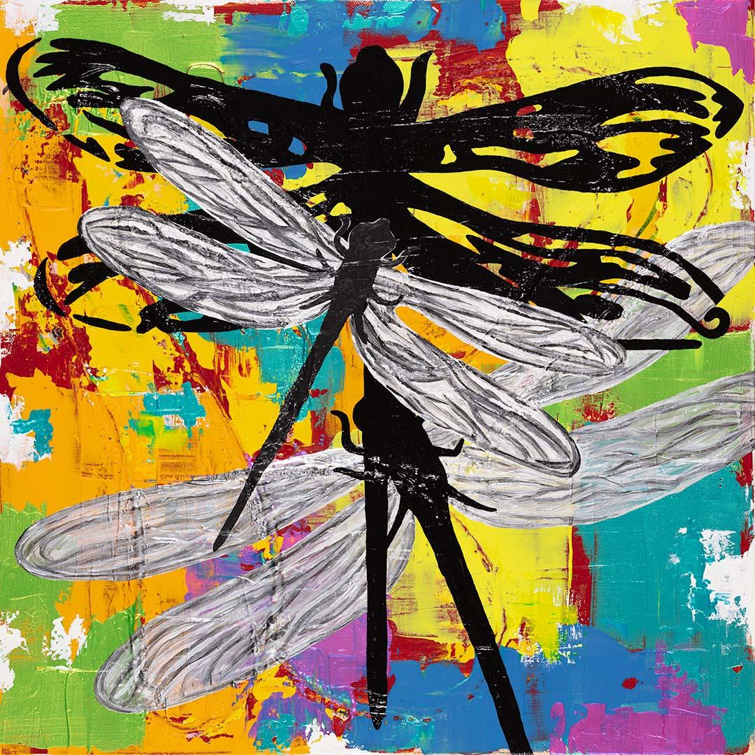 Färgglada tavlor med trollsländor målas av C.Brüggmann. Köp tavlor online på cbruggmann.se