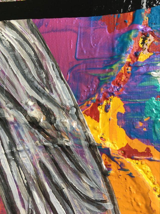Glada tavlor blir det när massa olika färger används i målningen. Färgrik tavla av C.Brüggmann.
