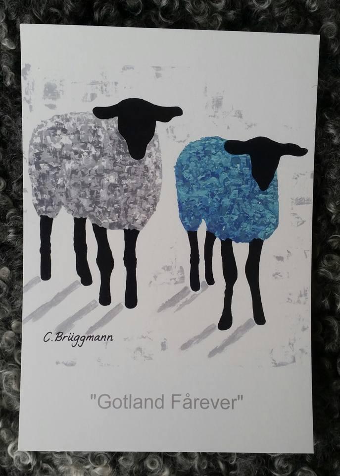 Fårkonst på vykort. Blå/turkos-konst att rama in. Tryck efter en C.Brüggmann-målning kallad