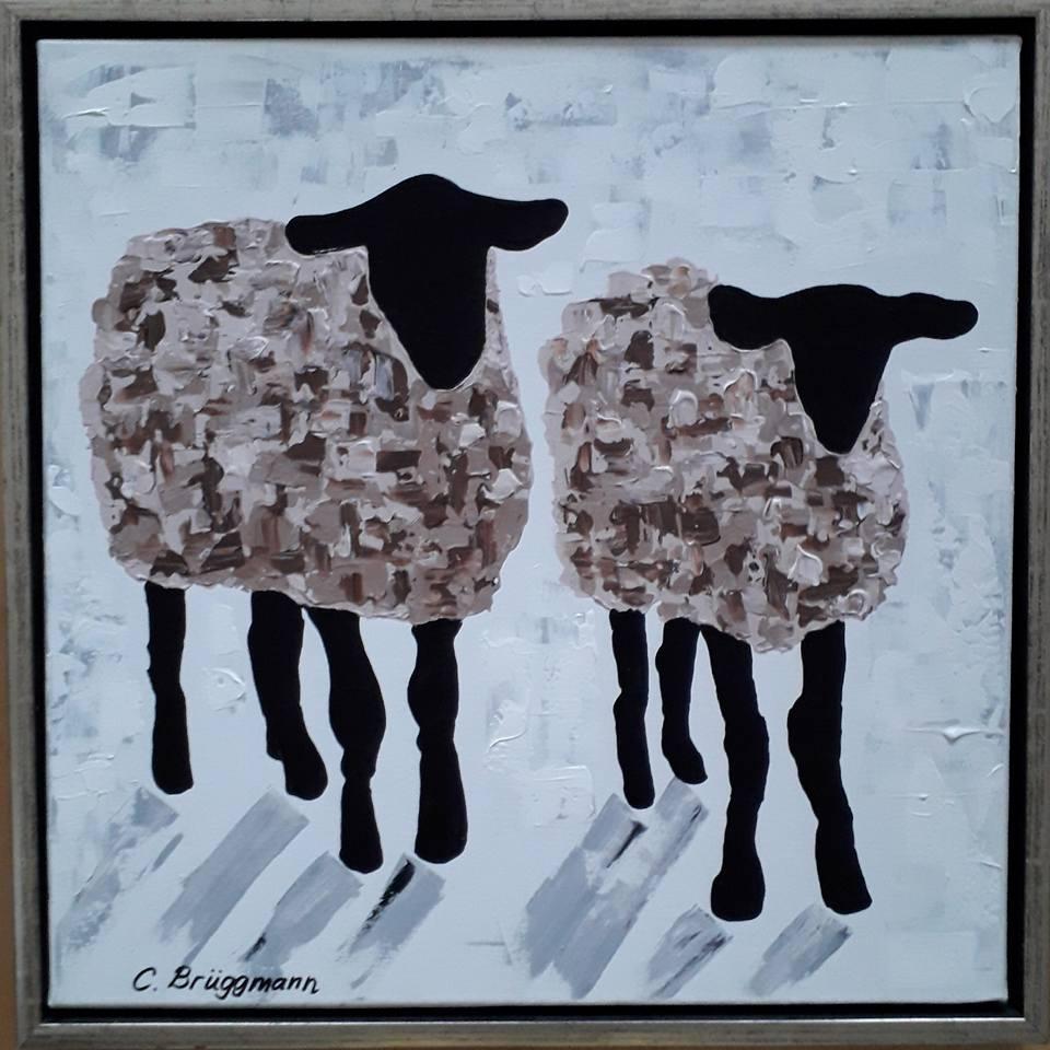 """Tavla med får av C.Brüggmann. """"Gotland Fårever"""" är en serie fårtavlor av cbruggmann.se. Tavlor med får, originalmålning. Fårtavla."""