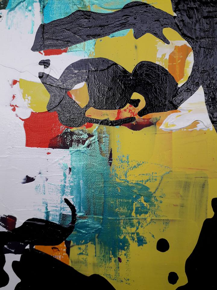 Jimi Hendrix på färgstark tavla av C.Brüggmann, konstnär från Sverige. Massa färg på väggen förhöjer rummets atmosfär. Konst från Helsingborg.