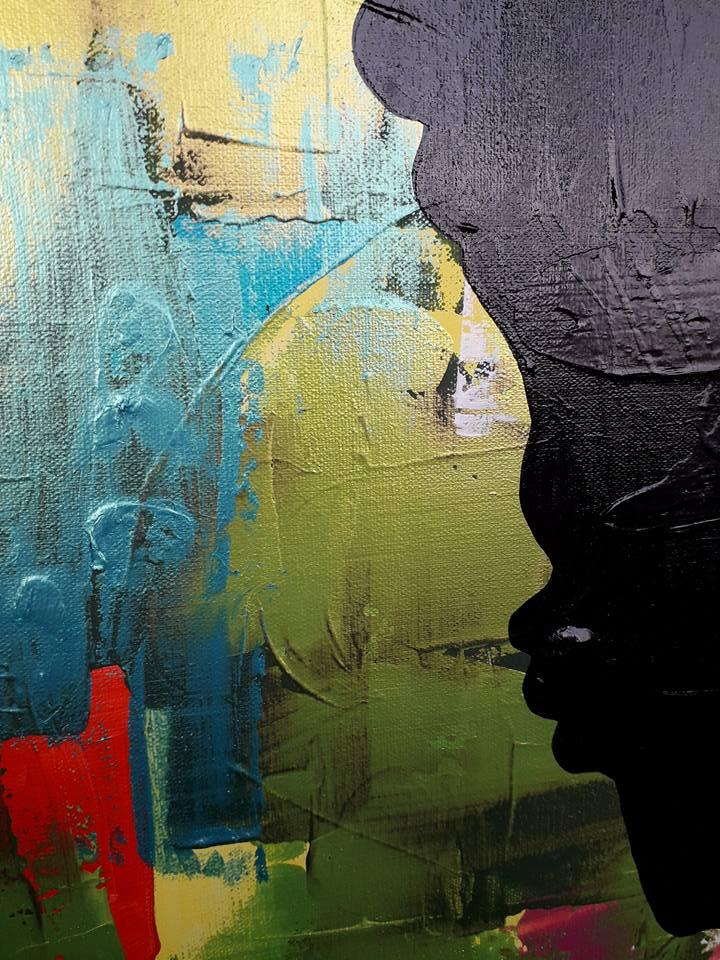 Massa färg på tavlan som är målad av svenska konstnärinnan Catharina Brüggmann uppväxt i Helsingborg, Sverige.