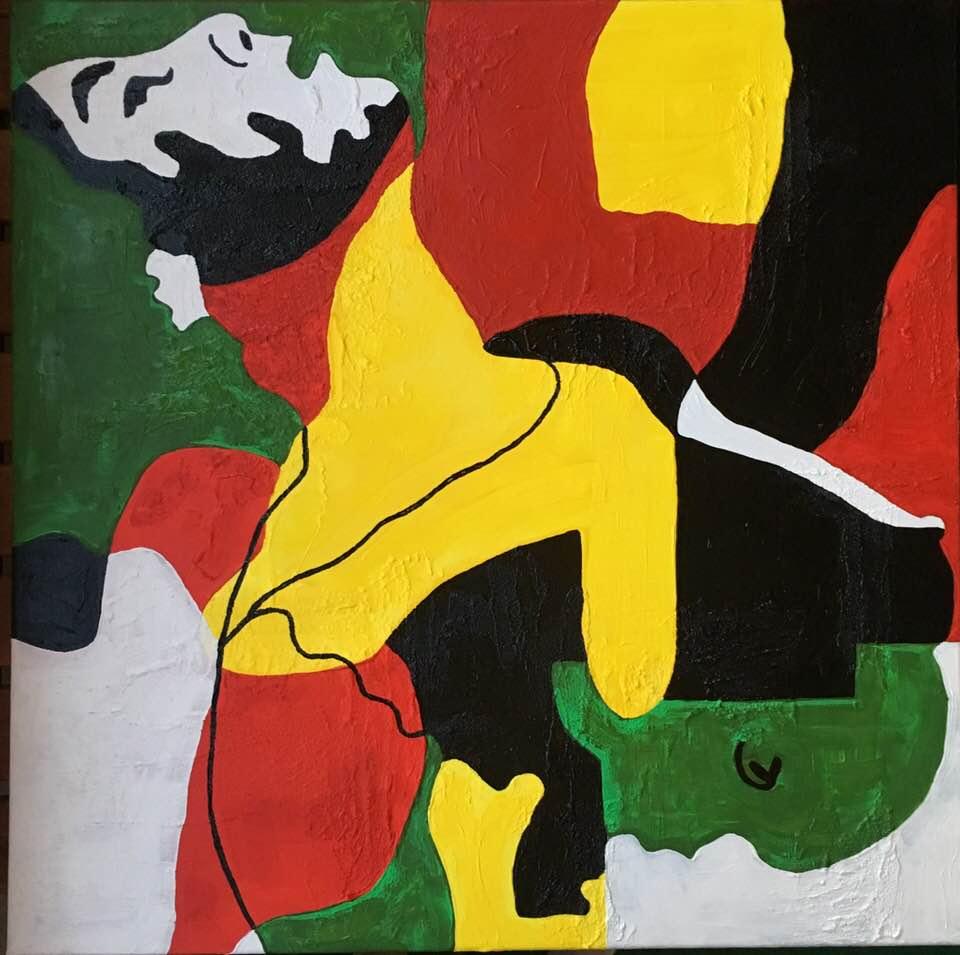 """Originalmålning av C.Brüggmann. """"Ohämmad njutning"""". Unna dig ett original på väggen. Onlinekonst. Konst online. Tavla av cbruggmann.se. Catharina Brüggmann sätter färg på din vägg och inredning."""