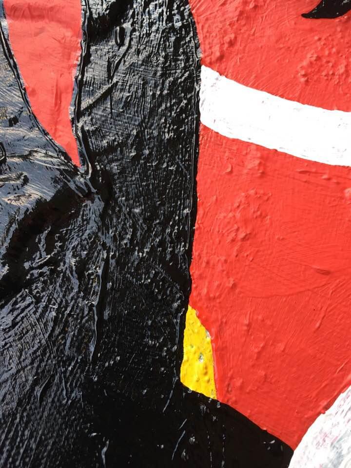 """Närbild. Originalmålning av C.Brüggmann. Unna dig ett original på väggen. Titel: """"Äntligen Demonerna borta?!"""" Tavla av cbruggmann.se Tavlor av C.Brüggmann. Onlinekonst. Konst online."""