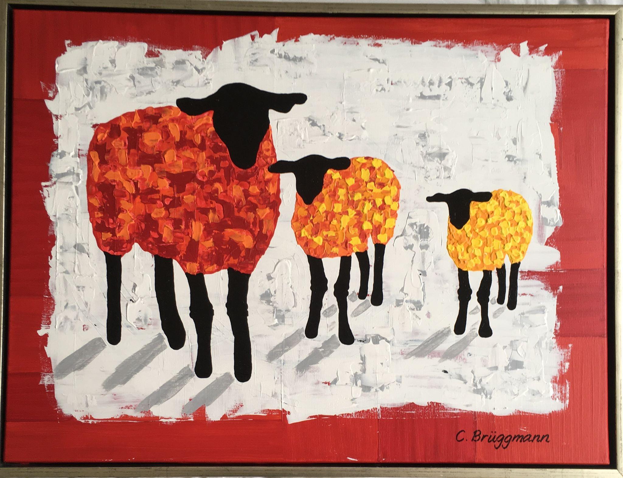 """Färgglad tavla med får. Fårtavla till din vägg. Fårtavlor av C.Brüggmann som heter """"Gotland Fårever"""""""