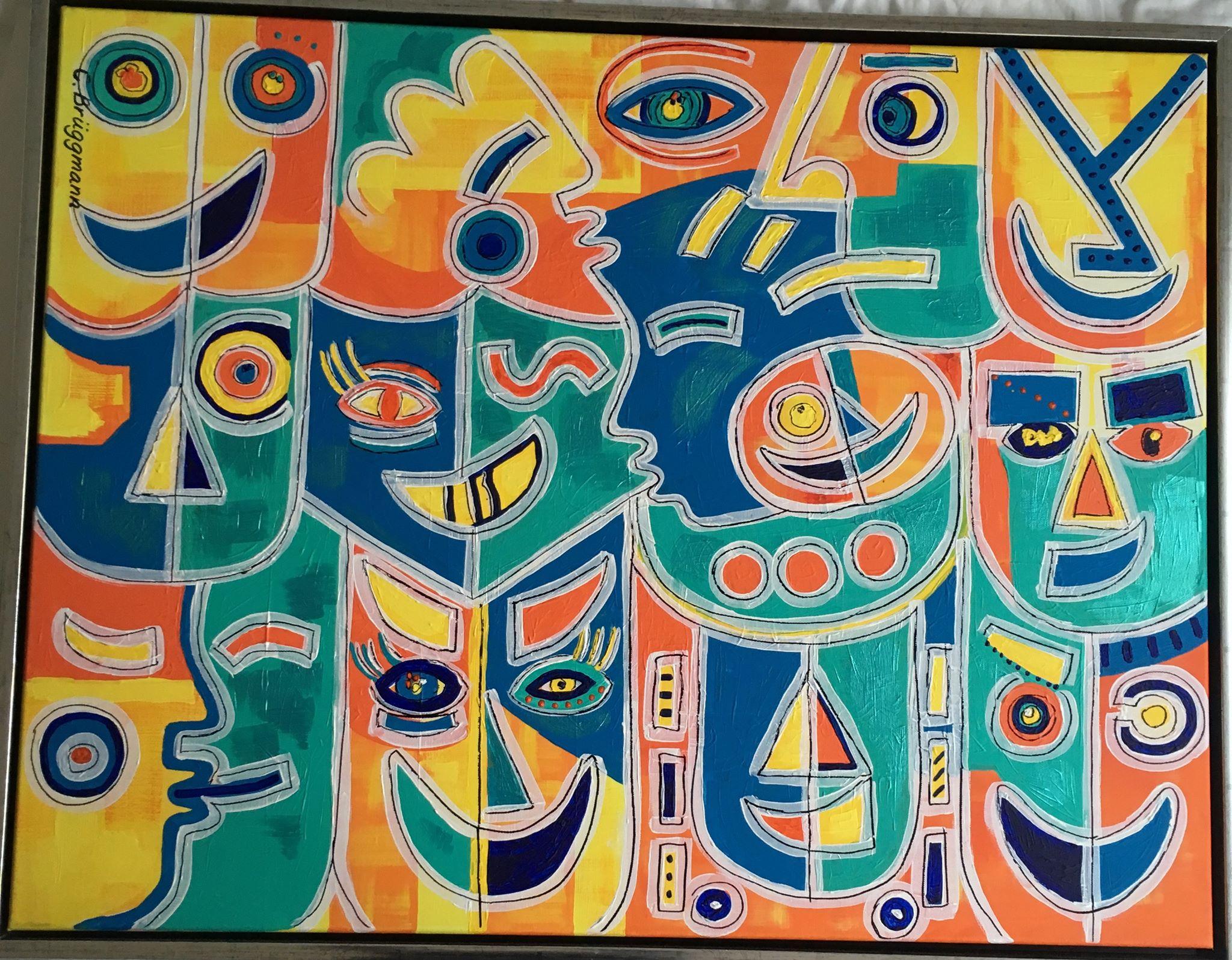 Tavla i färgglada färger med många olika känslor målad av konstnär C.Brüggmann från Helsingborg.