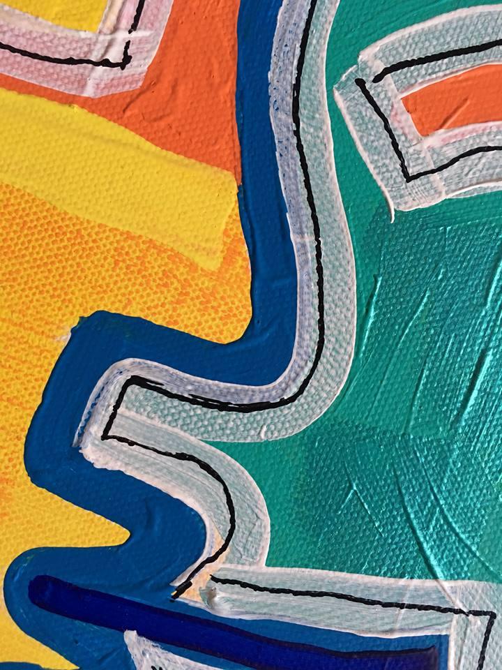 Stor färglad tavla. Snygg tavla att inreda sitt hem med. C.Brüggmann skapar färgglad konst.