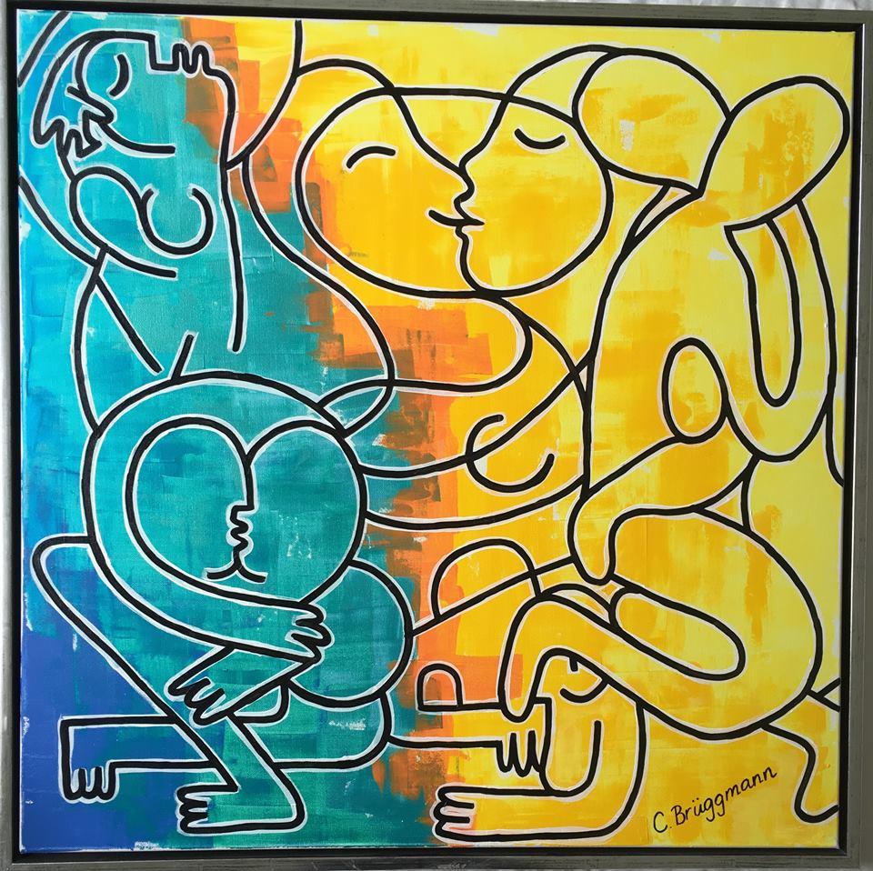Kärlekstavla av C.Brüggmann med massa glada färger. Färgrik tavla målad av svensk nutidskonstnär.