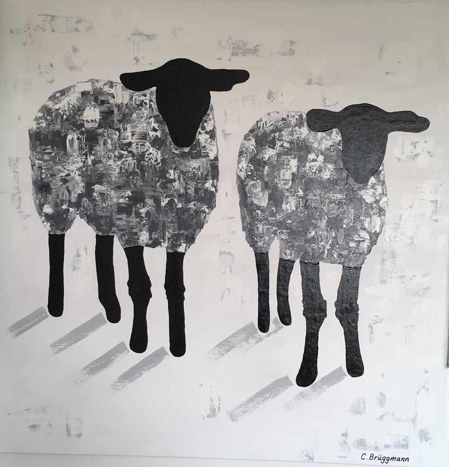 """Tavla med får. Fårtavla till din vägg. Fårtavlor av C.Brüggmann som heter """"Gotland Fårever"""""""