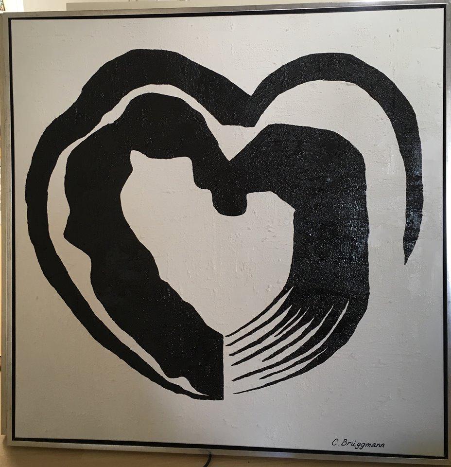 """""""Helsingborgshjärtat"""" en originalmålning av C.Brüggmann. Tavla med hjärta av Brüggmann. Hjärttavla till bröllop, dop ,nyinflyttade. Svartvitt till väggen"""