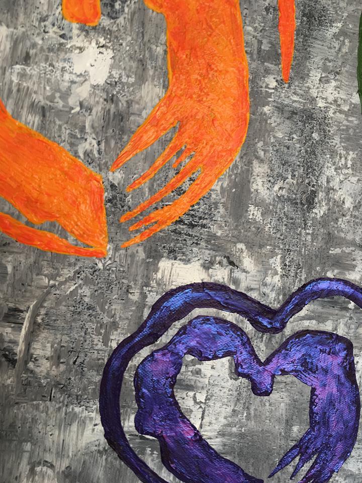 Stor tavla i glada färger. Avlång tavla att hänga ovanför soffa eller säng tex. Unna dig en bred originalmålning.