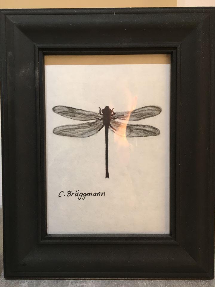 Målad trollslända av C.Brüggmann. Svart, vit, grå konst till moderna hem. Placera tavlan på din skänk, i fönsterkarmen eller var som faller dig in.