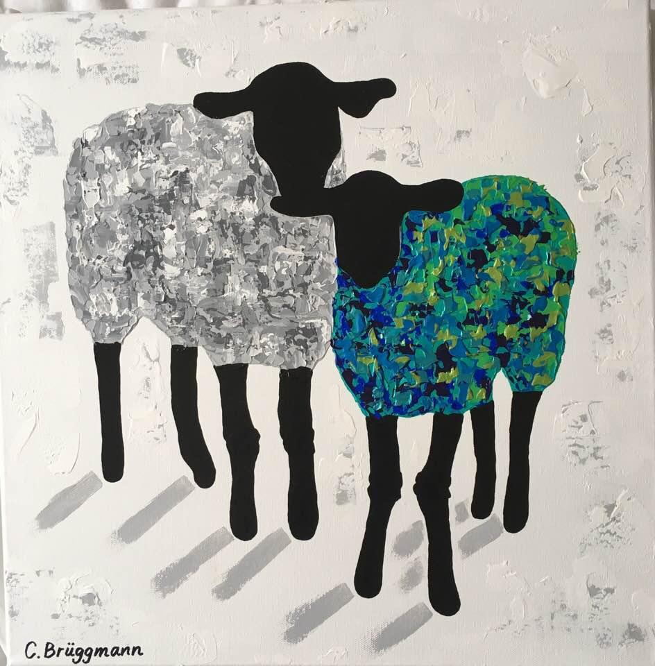 Tavla med får av C.Brüggmann. Fårmotiv är hennes favorit och inspirationen kommer från Visby och Gotland i stort.