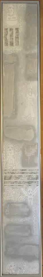 Tavla i silver. Tavlan är gjord av C.Brüggmann. Unik storlek, hög och smal som passar på ställen där du normalt inte får plats med konst.