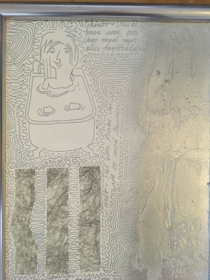 Tavla gjord med hjälp av silverpenna bla. av svenska konstnärinnan C.Brüggmann.
