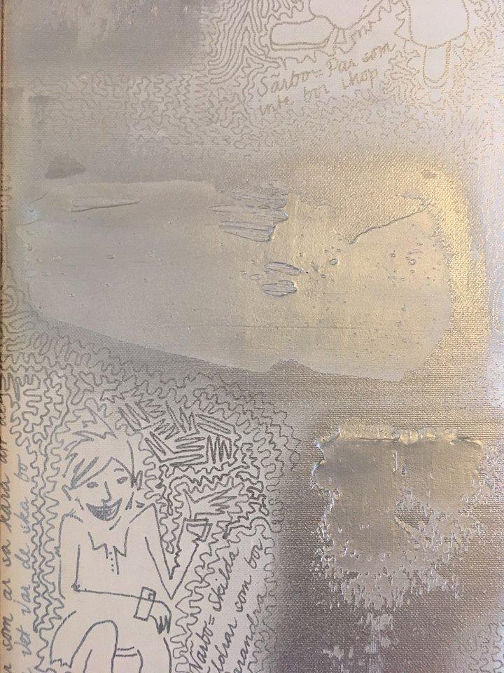 Silvertavla till ditt stilrena, mysiga hem. Nytt boende - ny konst. Gjord av svensk nutidskonstnär.