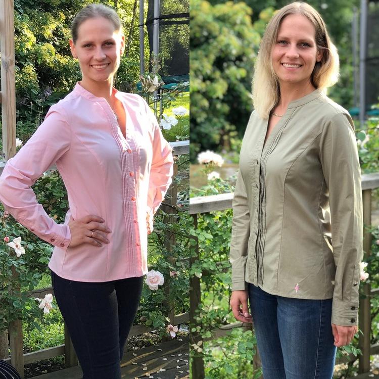 Collage av skjortan Lotta i rosa och i mossgrönt.