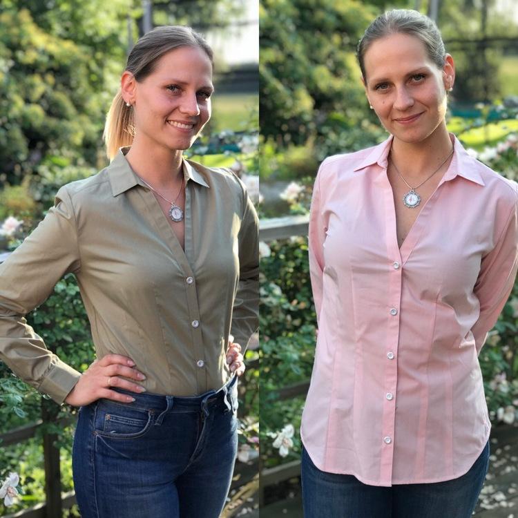 Skjortan Lotta i mossgrön och rosa. Ekologisk bomull.