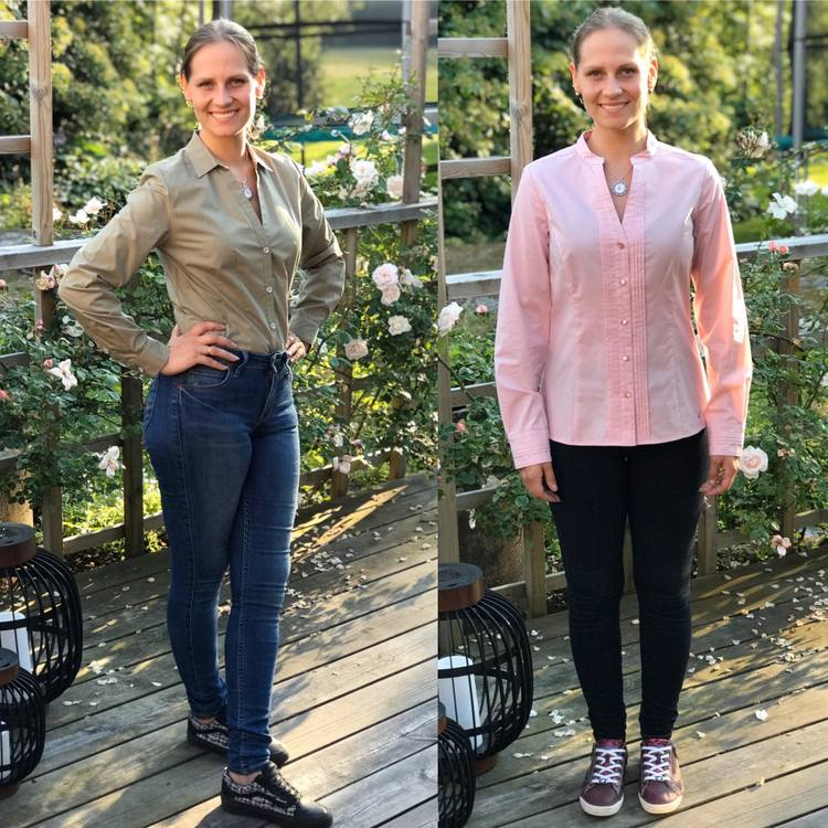 Skjortan Lina mossgrön och skjortan Lotta rosa. Båda i ekologisk bomull.