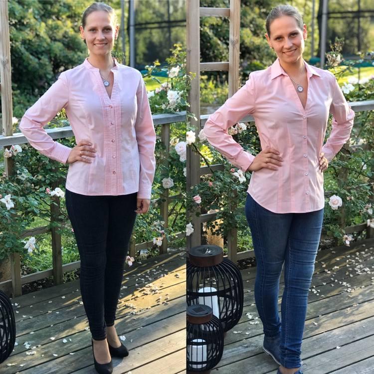 Skjortan Lotta och skjortan Lina, båda rosa. Ekologisk bomull.