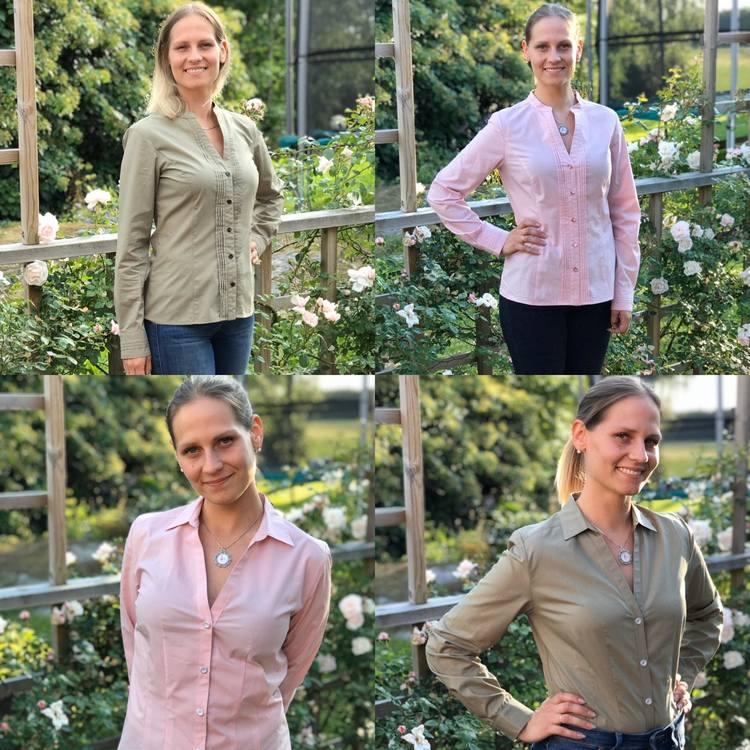 Collage av skjortorna Lotta och Lina. Ekologisk bomull i färgerna mossgrön och rosa.