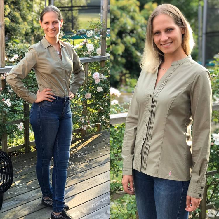 Skjortan Lotta och skjortan Lina, båda mossgröna. Ekologisk bomull.